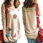 Fashion Women's Long Sleeve Shirt Casual Blouse Loose Cotton Tops Lady T Shirt
