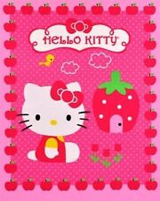 Hello Kitty and Cupcake Strawberry House Large Quilt Fabric Panel