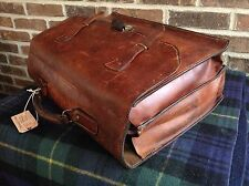 VINTAGE RARE 1940's DISTRESSED SADDLE LEATHER BRIEFCASE MAIL BAG FRANCE R$2298