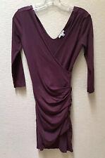 Standard James Perse Women's Skinny Faux Wrap Tuck Dress Burgundy Size 2