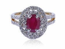 Classy 2.31 Cts Natural Diamonds Ruby Cocktail Ring In Solid 14Karat Yellow Gold