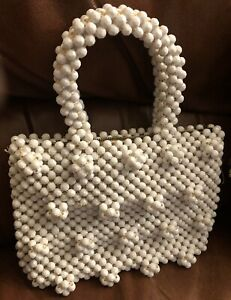VINTAGE BAG PURSE WHITE PLASTIC BEADS MADE IN ITALY