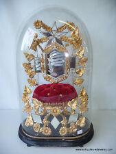 Globe de mariée / pendule Garniture laiton et miroir Socle bois noirci H49 cm