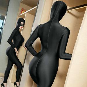 Sexy Lycra Bodysuit Zentai Unitard 2-Way Zipper Jumpsuit Catsuit Romper Clubwear