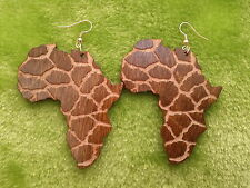 Africa wooden earrings with animal print, African map engraved giraffe pattern