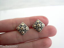 John Hardy Silver 18K Gold Textured Dots Square Earrings Studs Rare
