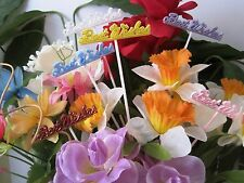 """Floral Picks BEST WISHES Assorted Colors 10"""" Pk/12 NEW !"""