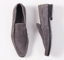 NIB $695 DI MELLA NAPOLI Handmade Gray Calf Suede Leather Loafers US 10 D Shoes