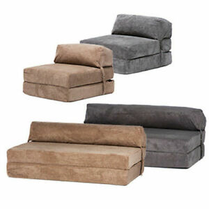 Corduroy Fold Out Single Double Guest Z ChairBed Folding Mattress Sofa Bed Futon