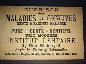 PUBLICITÉ POUR L'INSTITUT DENTAIRE A PARIS, DÉBUT XXéme.