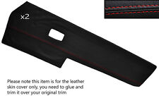 RED STITCH 2X FRONT DOOR CARD TRIM SKIN COVERS FITS VW TYPE 3 T3 EARLY