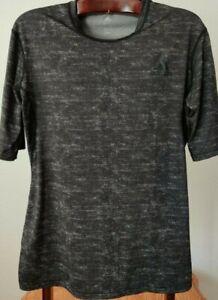 Adidas Climalite Black w/White Hatch Stripes Light Compression T-Shirt (Mens XL)