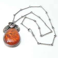 Amber Necklace in Teardrop Shape With Floral Design