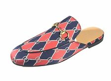 NEW GUCCI Princetown Rhombus Print Slipper Gold Horsebit Men's Shoes Sz 7.5 US