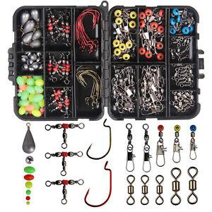 Fishing Swivels Tackle Box Kit Including Swivel Snaps Hooks Sinker Slide Beads