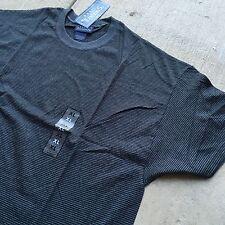 90s VTG NWT Striped GRUNGE T Shirt 50/50 Black XL Gray SKATE VAPORWAVE Blank