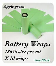 Envolturas de batería verde manzana X 10 piezas de PVC Manga Termocontraíble Para 18650 pre corte