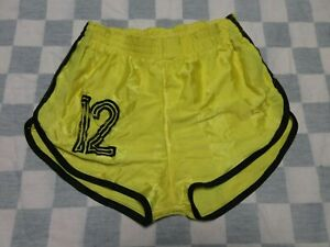 Short MD SPORTS n°12 nylon polyamide années 80 jaune made in France 85