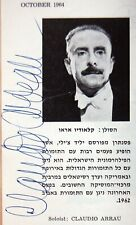 1964 CLAUDIO ARRAU Hand Signed AUTOGRAPH PHOTO PROGRAM Paray IPO Israel PIANIST