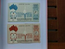 Melbourne Olympic Games 1956 Two Unused Basketball Tickets Nov 22/24