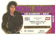RARE / TICKET BILLET CONCERT - MICHAEL JACKSON : LIVE A NICE ( FRANCE ) 1988