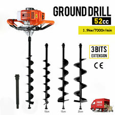 52cc Gas Powered Earth Auger Post Hole Digger Borer Fence Ground 3 Drill Bits