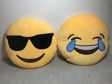 """Emoji Cushion X 2 Laughing And Cool 12"""" Diameter Supersoft"""