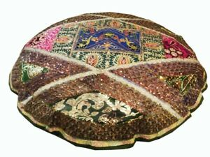 """40"""" LARGE STUNNING SARI BEADED ACCENT FLOOR BED CUSHION PILLOW COVER THROW"""