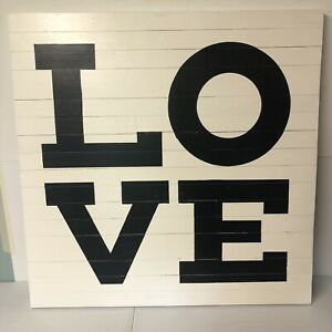 """POTTERY BARN Love Sign, Black & White 40x40"""" Square Reclaimed Wood Wall Hang NOB"""