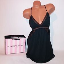 Victoria Secret Lingerie Chemise Slip Babydoll Solid Black Lace Trim Adjustable