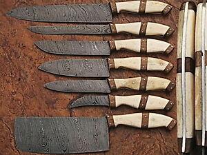Custom Made Damascus Steel Professional Kitchen Knife set-DB-1007-7-PR
