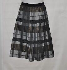 Joan Rivers Petite Glamorous Plaid Midi Skirt Size SP Grey