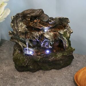 Sunnydaze Aged Tree Trunk Tabletop Water Fountain Feature w/ LED Lights - 10.5""