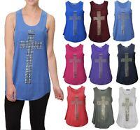 Women Ladies Studded Sleeveless Cross Vest Top SZ 8-14