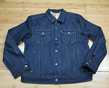 NWT Levi's Dark Wash Indigo Raw Denim Jean Trucker Jacket Size L Large