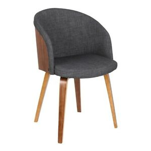 Armen Living Alpine Mid-Century Dining Chair, Charcoal/Walnut Wood - LCALCHWACH