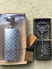 New listing New Checkerboard Stainless Steel Alcohol Liquor Flask,Funnel & Key Bottle Opener