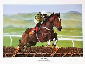 Large Limited Edition Horse Racing Print ISTABRAQ and CHARLIE SWAN - Free p&p
