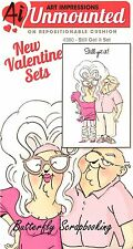 VALENTINE Set Unmounted Rubber Stamps With Cushion AI Art Impression 4380 NEW