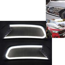 2x  Front DRL LED Headlight Cover Trim for Ford Ranger MK2 Everest 15-18
