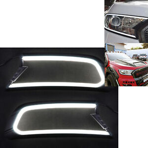 2x  Front DRL LED Headlight Cover Trim for Ford Ranger MK2 Everest 15-18