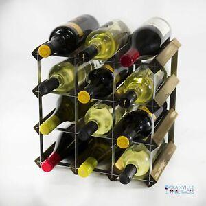 Cranville wine rack storage 12 bottle dark oak stain wood and metal self build