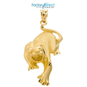 14k Solid Yellow Gold Diamond Cut Matte Finish Tiger Pendant
