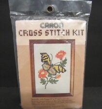 """Caron Butterfly with Poppy Cross Stitch Kit #6229 5"""" x 7"""" Vintage 1981 Sealed"""