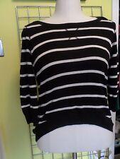 black crew neck shirt white stripes Pink Rose label size L midriff longer back