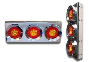 2x 24V CHROME LED REAR LAMPS TAIL STAINLESS STEEL LIGHTS BUS TRUCK TRAILER LORRY