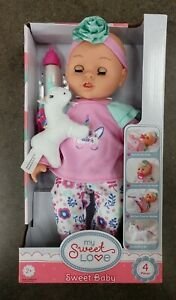 My Sweet Love Sweet Baby Doll 4pc Toy Set with Unicorn 🦄 & Bottle New