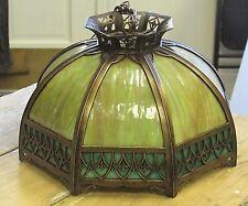 "Vintage Slag Glass Metal Overlay Ornate Lamp Shade Arts & Crafts  8 Panel 17"""