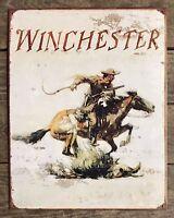 Winchester Gun Logo Vtg Metal Tin Sign Cowboy Horse Western Picture Poster Decor