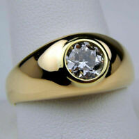 1.20 Ct Round Cut Diamond Solitaire Mens Engagement Ring 14K Yellow Gold Finish